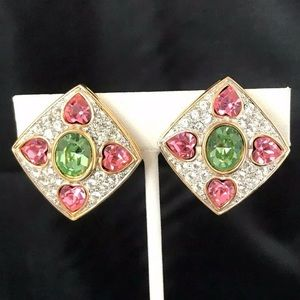 Vintage Erwin Pearl Earrings Clip On Crystals 8D